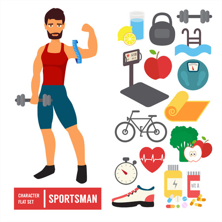 Fitness character set. Athlete man training in gym with sport icons. Flat Vector Icons.