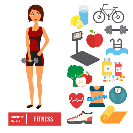 Fitness character set. Woman training in gym with sport icons. Flat Vector illustration.