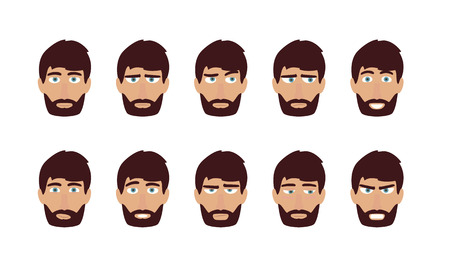 face men: Man face emotions and expressions - happy, sad, angry. Flat vector user profiles avatar. Illustration