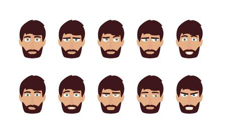 Hombre emociones y expresiones faciales - feliz, triste, enojado. Usuario vector plana Perfiles avatar.