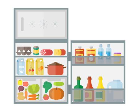 Koelkast met eten en drinken. Platte ontwerp vector illustratie.