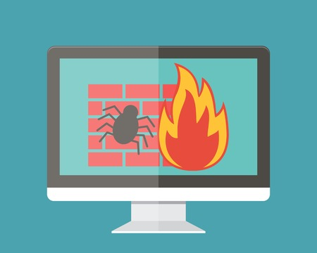 Internet security, firewall and virus protection. Flat design vector illustration.