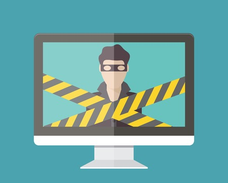 Internet security, hacker. Flat design vector illustration.