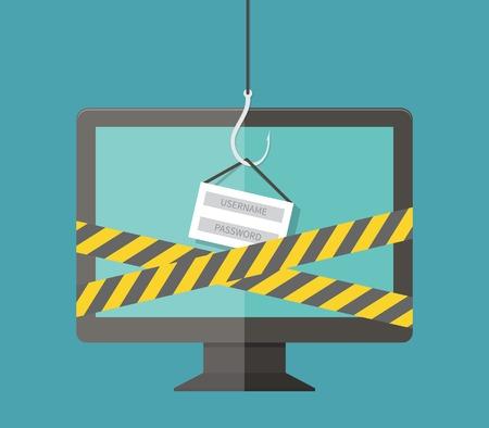 Internet Phishing, hacking login and password, internet security concept. Flat design vector