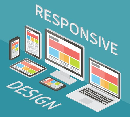 Responsive web design, application development and page construction. Isometric 3d flat style vector illustration. Vectores