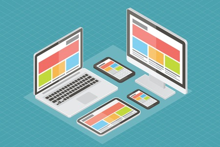 web: Responsive web design, computer equipment, application development and page construction. Isometric 3d flat style vector illustration. Illustration