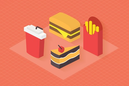 restaurant food: Fast food icons set for menu, cafe and restaurant. Isometric 3d flat design vector .