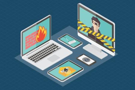 advertencia: La seguridad en Internet, pirata informático, protección contra virus y el spam de correo electrónico. Diseño plano isométrico ilustración vectorial.