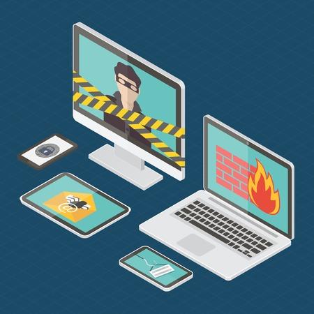 virus informatico: La seguridad en Internet, pirata informático, protección contra virus y el spam de correo electrónico. Diseño plano isométrico ilustración vectorial.