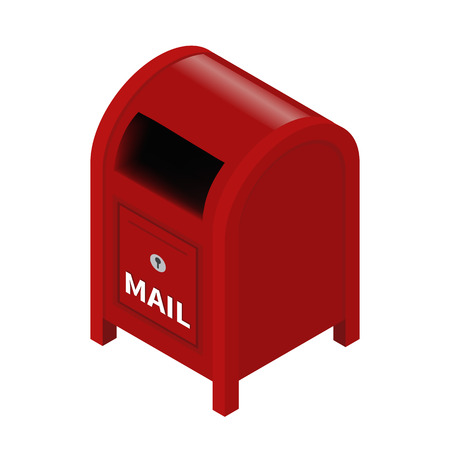 timbre postal: Vector buzón isométrica aislado en un fondo blanco. Vectores