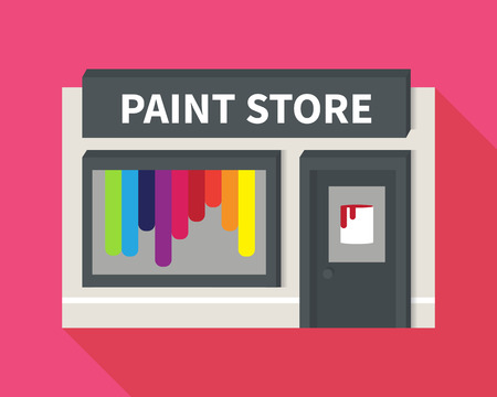 hardware store: Vector hardware shop, paint store. Flat building icon