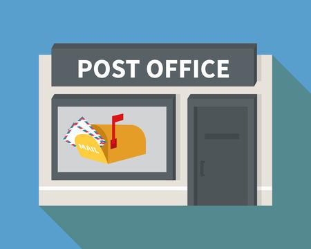 Vector ufficio postale. Costruzione Appartamento con casella di posta elettronica e la lettera di icone