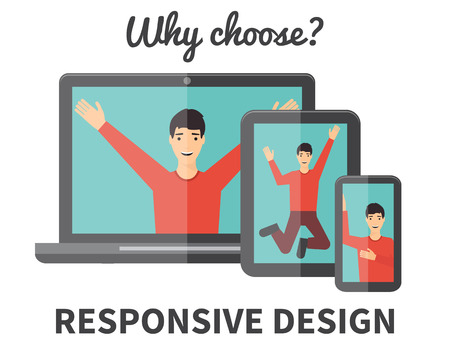 web designer: Responsive web design, application development and page construction. Male character in Flat style vector illustration.