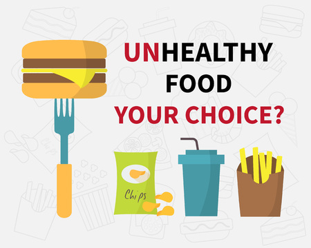 motivator: Choice of unhealthy food, junk fast food icons. Flat design vector illustration. Sign motivator Illustration