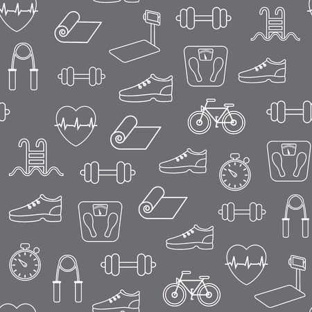 lifestyle: Fitness and exercise seamless pattern. Vector background