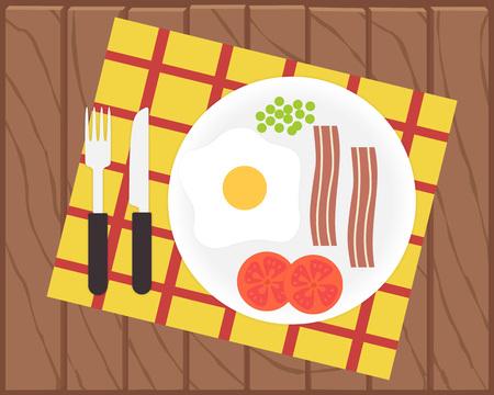 tomato cartoon: Breakfast time. Egg, bacon and vegetables. Flat vector illustration