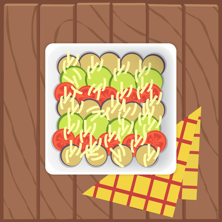 aubergine: Close up of appetizing healthy recipe Ratatouille with aubergine, tomato, zucchini and cheese. Placed on wooden table. Vector flat shot. Illustration