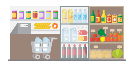 grocery shelves: Supermarket shop interior with showcase and shopping cart.Flat vector illustration Illustration