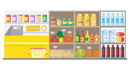 grocery shelves: Supermarket shop interior with showcase and shopping basket. Flat vector illustration Illustration
