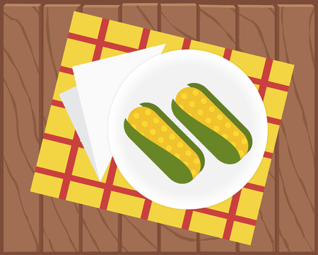 boiled: Boiled corn on a plate. Vector flat illustration
