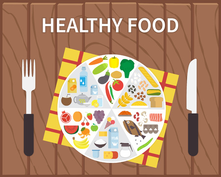 건강한 음식. 부분에 공유하는 접시와 Infographic 라이프 스타일 개념. 플랫 벡터 일러스트 레이션