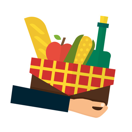 delivery icon: Food delivery, online order. Hand holding basket with products. Flat vector illustrations.