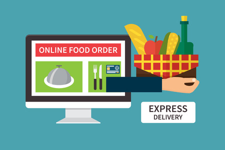 Food delivery, online internet order. Computer and Hand holding basket with products. Flat vector illustrations.