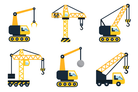 Construction icons, different types of cranes. Flat vector illustration.