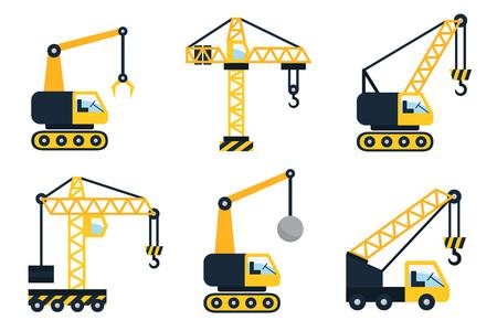 camion grua: Iconos de la construcción, diferentes tipos de grúas. Ilustración vectorial Flat. Vectores