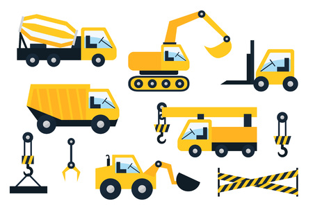 graders: Construction vehicle icons set. Flat vector illustration.