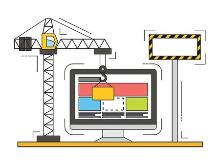 Diseño delgado línea plana de la página web en construcción, proceso de construcción de la página web. Moderno concepto de ilustración vectorial.