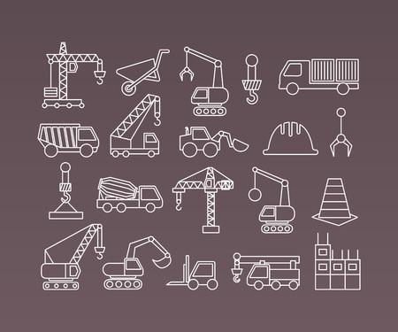 camion grua: Construcción iconos grúas y equipos. Elementos del vector de línea delgada