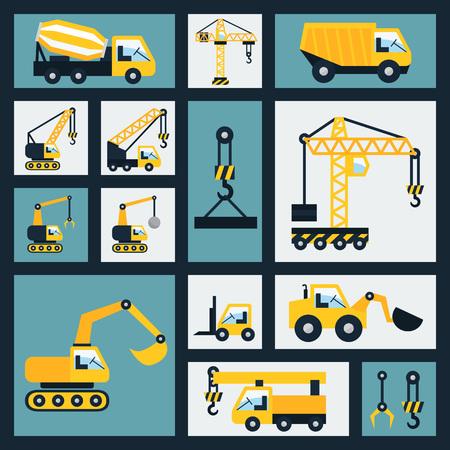 construction vehicle: Construction vehicle icons set. Flat vector illustration.