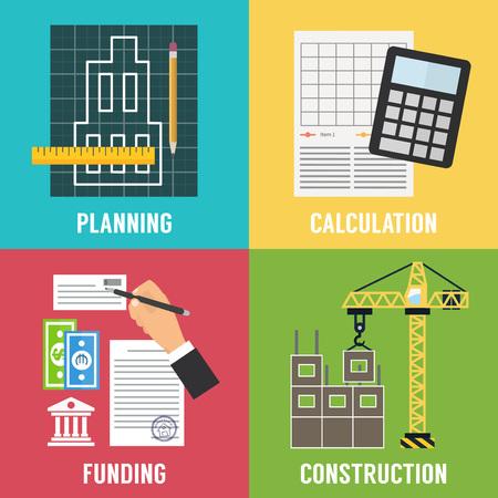 budget: Construction process Infographic. Building concept. Vector flat design illustration. Illustration