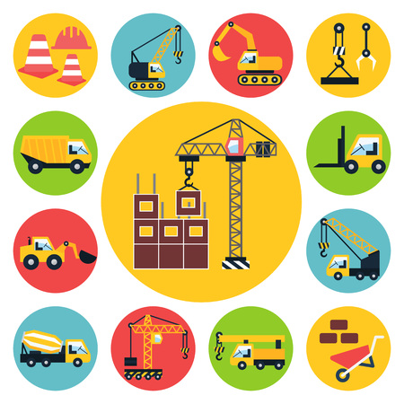 excavate: Construction vehicle icons set. Flat vector illustration.