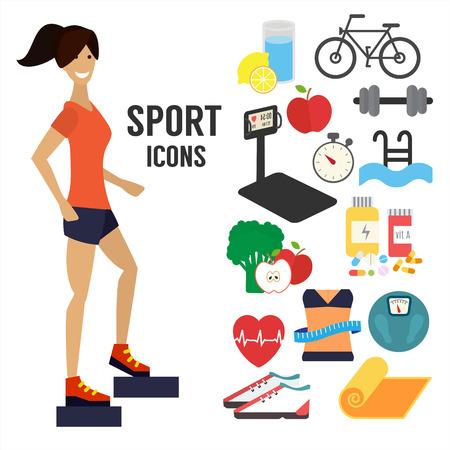 ejercicio aeróbico: Fitness mujer, iconos infográficas deporte.