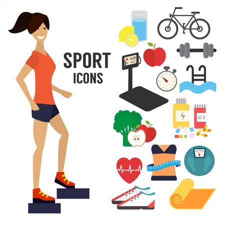 vida sana: Fitness mujer, iconos infográficas deporte.