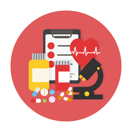 medical examination: Medical examination set. Flat vector icon illustration. Illustration
