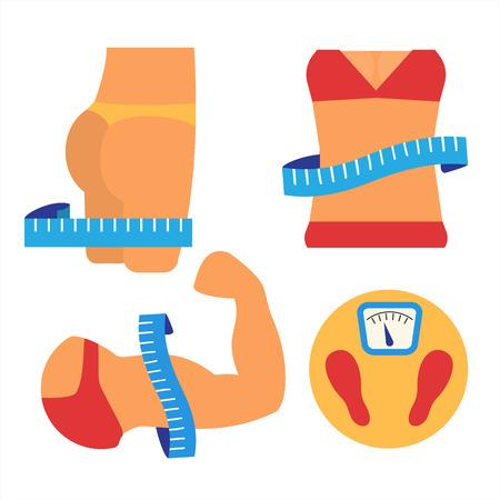 muskeltraining: Gewichtsverlust und Muskelwachstum. Gesunden Lebensstil-Konzept. Fitness und Messung. Wohnung Vektor-Illustration.