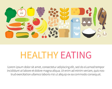 comiendo: Banner de alimentación saludable. Concepto de estilo de vida saludable y de iconos de alimentos. Ilustración vectorial Flat. Vectores