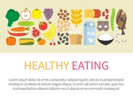 Zdrowe odżywianie banner. Koncepcja zdrowego stylu życia i ikony spożywcze. Płaski ilustracji wektorowych.