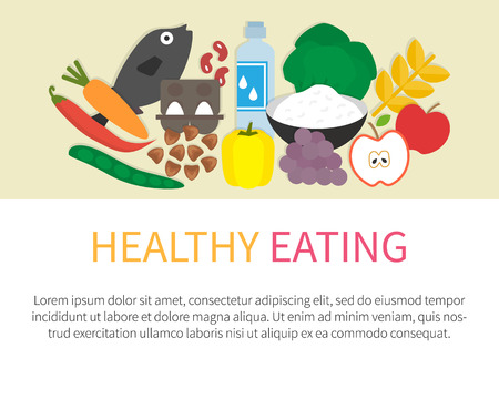 cottage cheese: Healthy eating banner. Healthy lifestyle concept and Food icons. Flat vector illustration.