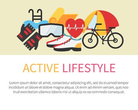 icono deportes: Banner de estilo de vida saludable. Fitness y vida activa. Ilustración vectorial Diseño plano.