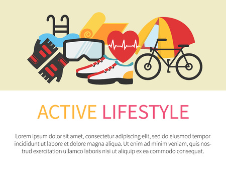 Healthy lifestyle banner. Fitness and active living. Flat design vector illustration.