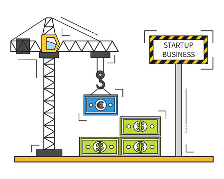financing: Building business, startup concept with cranes and money financing. Thin line vector illustration.