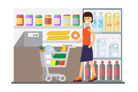 mall interior: Woman in supermarket with cart full of food. Flat design vector. Illustration