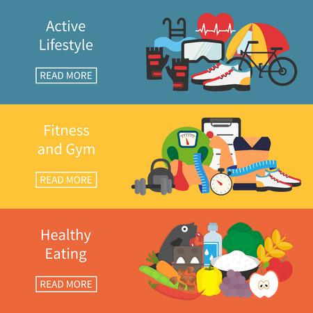 vida sana: Banner de estilo de vida saludable. Gimnasio, comida saludable y una vida activa. Ilustración vectorial Diseño plano.