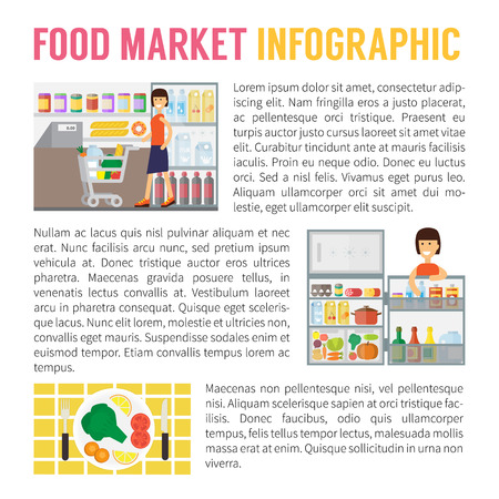 food storage: Food market infographics, supermarket, storage in freezer and cooking. Flat design vector illustration