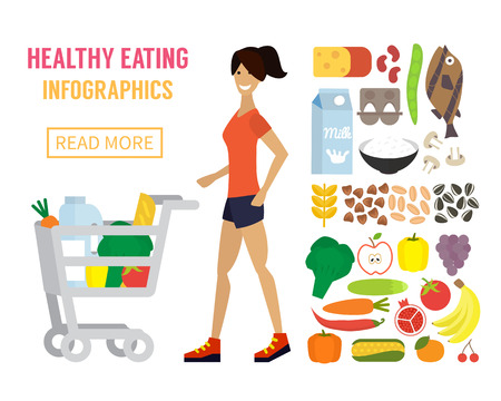 food healthy: Woman in supermarket with cart full of food. Healthy eating concept. Flat design vector.