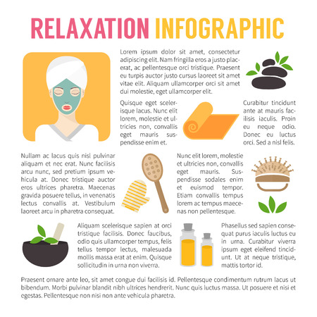 aromas: SPA and relaxation infographics. Facial and body care. Flat design illustration. Illustration